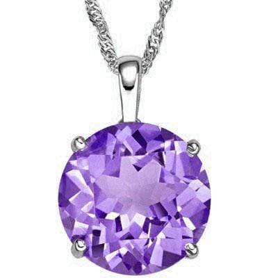 GREAT 3 CARAT TW (1 PCS) AMETHYST 10K SOLID WHITE GOLD PENDANT wholesalekings wholesale silver jewelry
