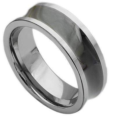 GREAT CONCAVE BRUSHED AND POLISH  CARBIDE TUNGSTEN RING - Wholesalekings.com