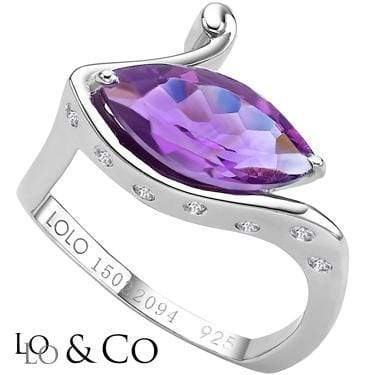 GREAT LOLO & CO 2.98 CARAT TW (9 PCS) AURORA AMETHYST & GENUINE DIAMOND PLATINUM OVER 0.925 STERLING SILVER RING - Wholesalekings.com