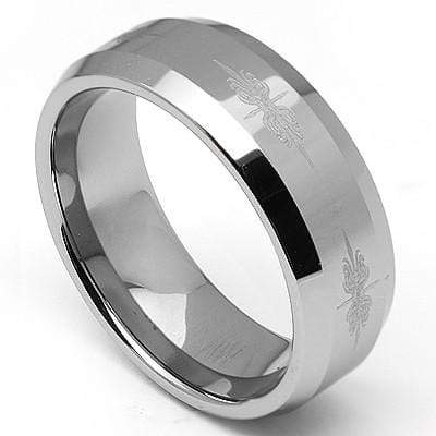 GREAT TRADITIONAL BEVELED EDGE STYLING IN A POLISHED FINISH CARBIDE TUNGSTEN RING - Wholesalekings.com