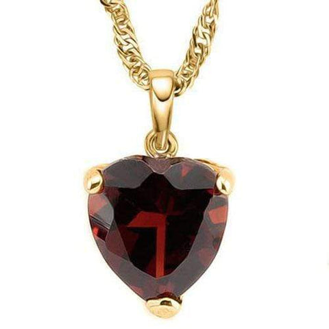 HEAVY 3/5 CARAT GARNET 10KT SOLID GOLD PENDANT - Wholesalekings.com