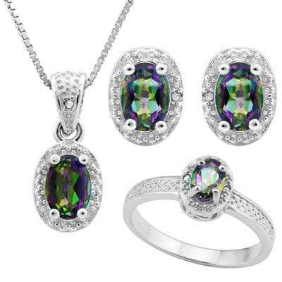 HULKING 1 4/5 CARAT OCEAN MYSTIC GEMSTONE & DIAMOND 925 STERLING SILVER SET - Wholesalekings.com