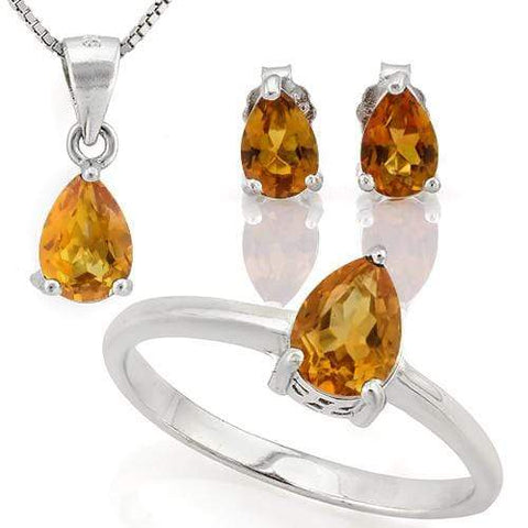 HULKING 2 1/5 CARAT DARK CITRINE 925 STERLING SILVER SET - Wholesalekings.com