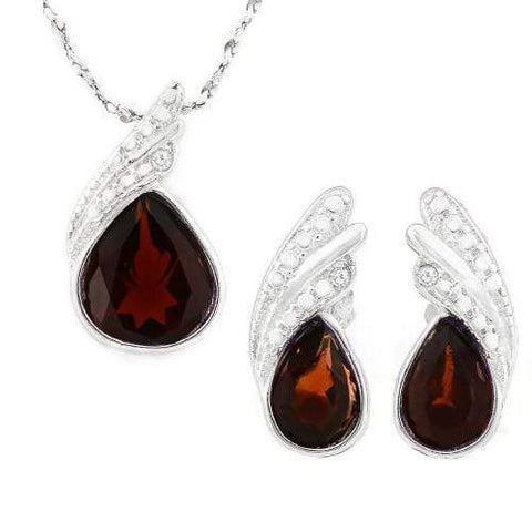 HULKING 2 1/5 CARAT GARNET 925 STERLING SILVER SET - Wholesalekings.com
