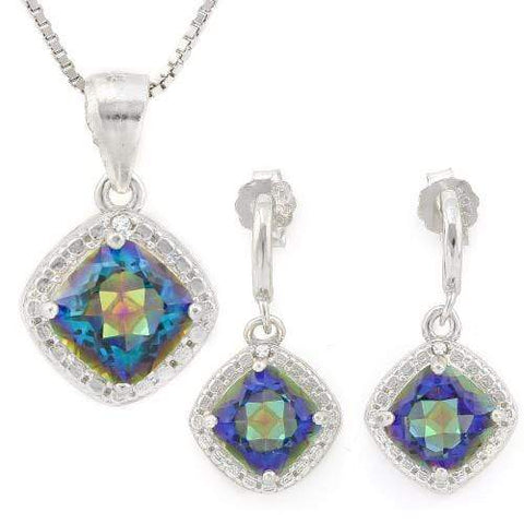HULKING 2 2/5 CARAT OCEAN MYSTIC GEMSTONES & GENUINE DIAMONDS 925 STERLING SILVE - Wholesalekings.com