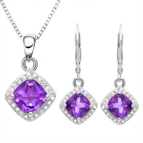 HULKING 2 3/4 CARAT AMETHYSTS & GENUINE DIAMONDS 925 STERLING SILVER JEWELRY SET - Wholesalekings.com