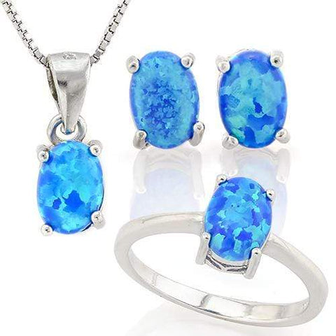 HULKING 2 CARAT CREATED BLUE FIRE OPAL 925 STERLING SILVER  SET - Wholesalekings.com
