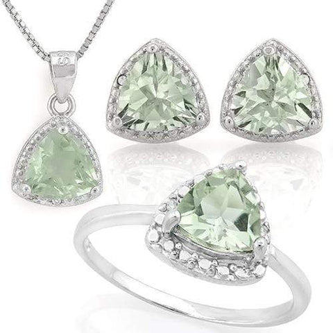HUMONGOUS 4 1/5 CARAT GREEN AMETHYST & DIAMOND 925 STERLING SILVER SET wholesalekings wholesale silver jewelry