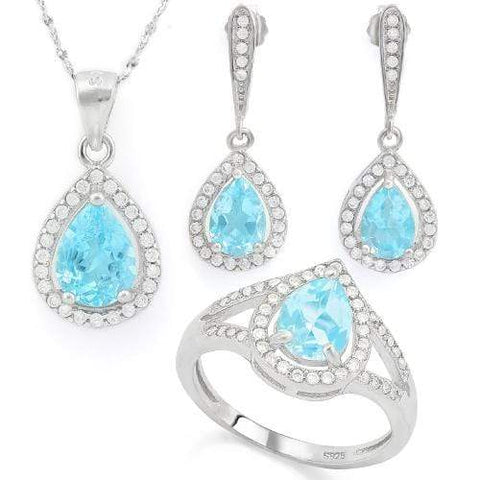 HUMONGOUS 4 CARAT BABY SWISS BLUE TOPAZ 925 STERLING SILVER SET - Wholesalekings.com