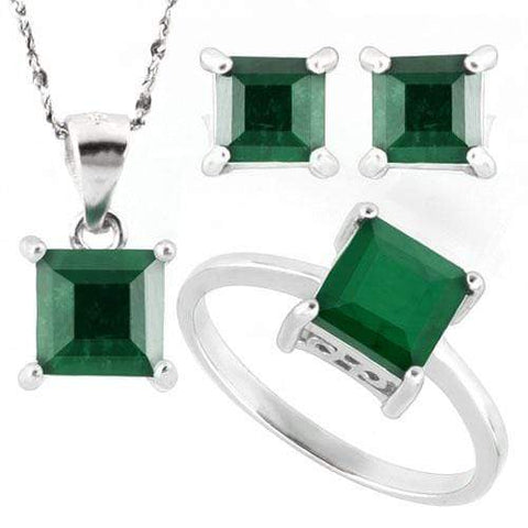 HUMONGOUS 5 1/5 CARAT ENHANCED GENUINE EMERALD 925 STERLING SILVER SET - Wholesalekings.com