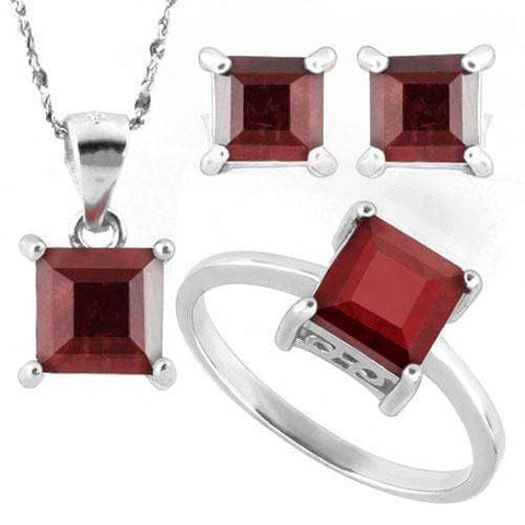 HUMONGOUS 5 1/5 CARAT ENHANCED GENUINE RUBY 925 STERLING SILVER SET - Wholesalekings.com