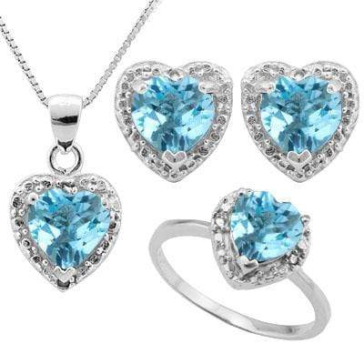 HUMONGOUS 5 3/5 CARAT BABY SWISS BLUE TOPAZS &   (6 PCS) GENUINE DIAMONDS 925 STERLING SILVER - Wholesalekings.com