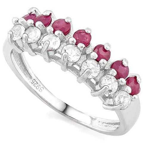 2/3 CT RUBY & 1/2 CREATED WHITE TOPAZ 925 STERLING SILVER BAND RING - Wholesalekings.com