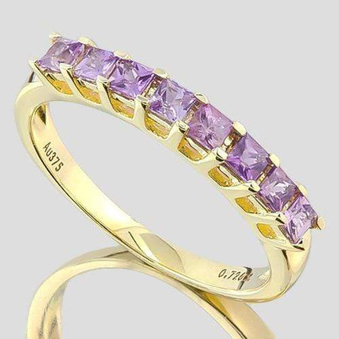 IDEAL ! 3/4 CARAT (8 PCS) PURPLE SAPPHIRE (VS) 9KT SOLID GOLD BAND RING wholesalekings wholesale silver jewelry