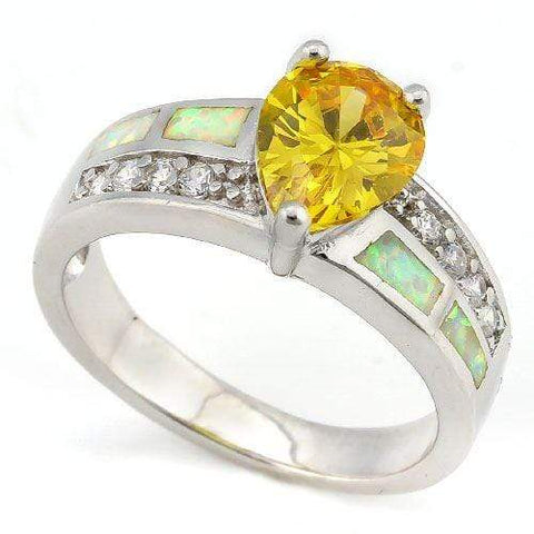 IMMACULATE !  3 CARAT CREATED YELLOW SAPPHIRE &  1 CARAT CREATED FIRE OPAL 925 STERLING SILVER RING - Wholesalekings.com