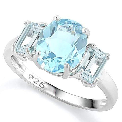 IRRESISTIBLE ! 2.75 CARAT BABY SWISS BLUE TOPAZ 925 STERLING SILVER RING - Wholesalekings.com