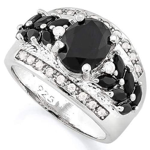 IRRESISTIBLE ! CREATED BLACK SAPPHIRE 925 STERLING SILVER RING - Wholesalekings.com