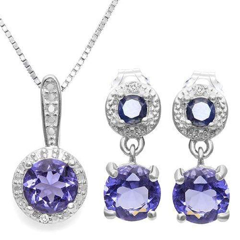 LAB TANZANITE & 1/3 CARATSAPPHIRE 925 STERLING SILVER SET - Wholesalekings.com