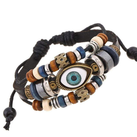 Lot of 24 evil Eye Bracelets (PU leather) - Wholesalekings.com
