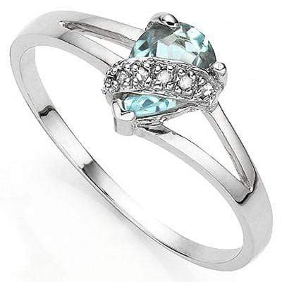 LOVELY 0.85 CT BLUE TOPAZ & 2 PCS GENUINE DIAMOND 0.925 STERLING SILVER W/ PLATINUM RING wholesalekings wholesale silver jewelry