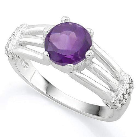 LOVELY ! 1 1/4 CARAT AMETHYST & (20 PCS) FLAWLESS CREATED DIAMOND 925 STERLING SILVER RING - Wholesalekings.com