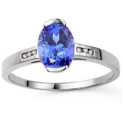 LOVELY 1.23 CT GENUINE TANZANITE & 6 PCS WHITE DIAMOND 10K SOLID WHITE GOLD RING wholesalekings wholesale silver jewelry