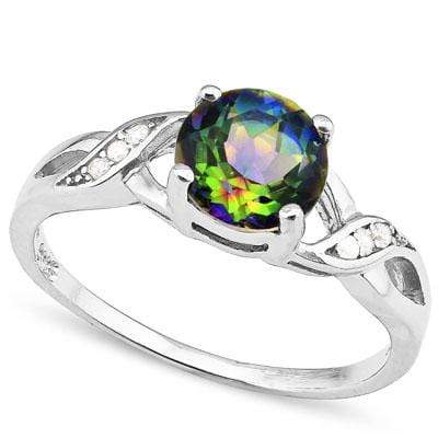 LOVELY 1.33 CARAT TW  GREEN MYSTIC GEMSTONE & CREATED WHITE SAPPHIRE PLATINUM OVER 0.925 STERLING SILVER RING - Wholesalekings.com