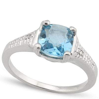 LOVELY 1.807 CARAT TW  BLUE TOPAZ & GENUINE DIAMOND PLATINUM OVER 0.925 STERLING SILVER RING - Wholesalekings.com