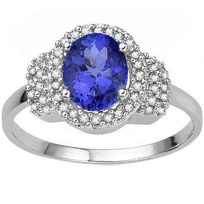 LOVELY 1.93 CT GENUINE TANZANITE & 46 PCS WHITE DIAMOND 9K SOLID WHITE GOLD RING - Wholesalekings.com