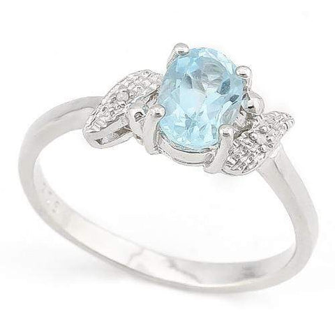 LOVELY ! 1 CARAT BABY SWISS BLUE TOPAZ & DIAMOND 925 STERLING SILVER RING - Wholesalekings.com