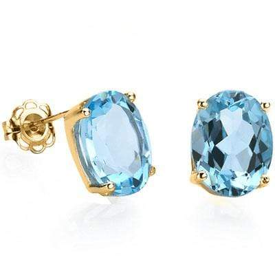 LOVELY 1 CARAT TW (2 PCS) BLUE TOPAZ 10K SOLID YELLOW GOLD EARRINGS - Wholesalekings.com