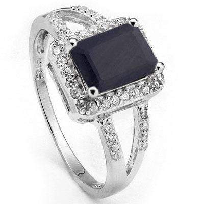 LOVELY 2.16 CARAT TW (29 PCS) GENUINE BLACK SAPPHIRE & CUBIC ZIRCONIA PLATINUM OVER 0.925 STERLING SILVER RING - Wholesalekings.com