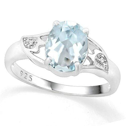 LOVELY ! 2 CARAT AQUAMARINE & DIAMOND 925 STERLING SILVER RING - Wholesalekings.com