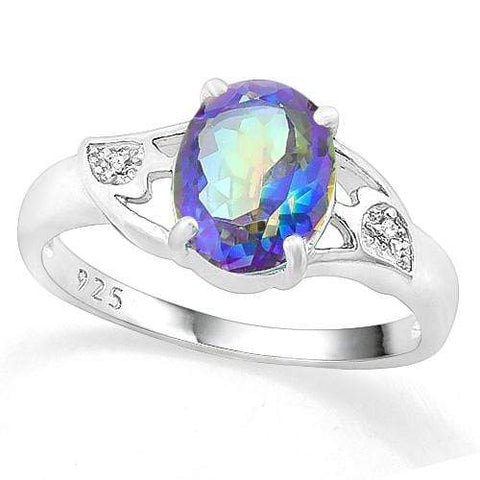 LOVELY ! 2 CARAT OCEAN MYSTIC GEMSTONE & DIAMOND 925 STERLING SILVER RING - Wholesalekings.com