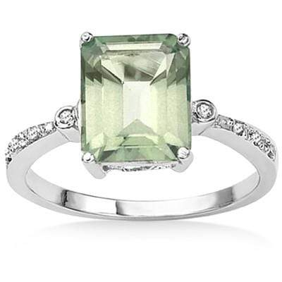 LOVELY 3.08 CT GREEN AMETHYST & 2 PCS GENUINE DIAMOND 0.925 STERLING SILVER W/ PLATINUM RING - Wholesalekings.com