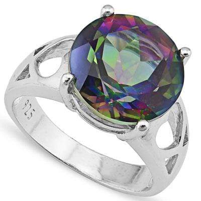 LOVELY 4.20 CT MYSTIC GEMSTONE PLATINUM OVER 0.925 STERLING SILVER RING - Wholesalekings.com