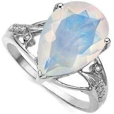2df9a286fd000 LOVELY 4.22 CT CREATED FIRE OPAL & 2 PCS GENUINE DIAMOND PLATINUM OVER  0.925 STERLING SILVER RING