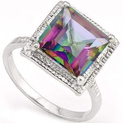 LOVELY 4.42 CT MYSTIC GEMSTONE & 2PCS GENUINE DIAMOND PLATINUM OVER 0.925 STERLING SILVER RING - Wholesalekings.com