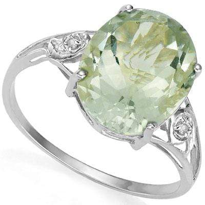LOVELY 5.5 CARAT  GREEN AMETHYST & GENUINE DIAMOND PLATINUM OVER 0.925 STERLING SILVER RING - Wholesalekings.com