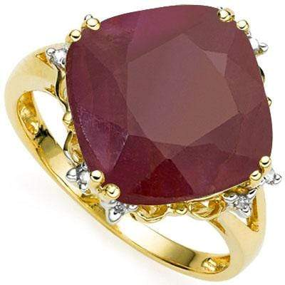 LOVELY 6.34 CT GENUINE RUBY & 8 PCS WHITE DIAMOND 10K SOLID YELLOW GOLD RING - Wholesalekings.com