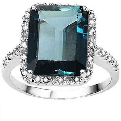 LOVELY ! 7 4/5 CARAT LONDON BLUE TOPAZ & DIAMOND 10KT SOLID GOLD RING - Wholesalekings.com