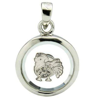 LOVELY WHITE GERMAN SILVER ROTATABLE PENDANT - CHINESE ZODIAC ROOSTER - Wholesalekings.com