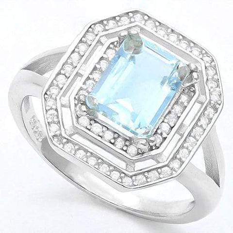 LUXURIANT ! 1 1/3 CARAT AQUAMARINE & DIAMOND 925 STERLING SILVER RING - Wholesalekings.com