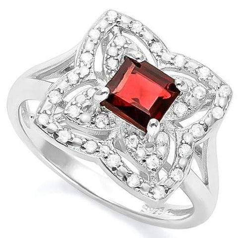 LUXURIANT ! 1 CARAT GARNET & (32 PCS) FLAWLESS CREATED DIAMOND 925 STERLING SILV - Wholesalekings.com