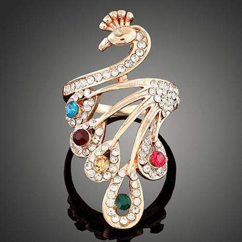LUXURIANT ! 18K GOLD PLATED PEACOCK DESIGNER RING wholesalekings wholesale silver jewelry
