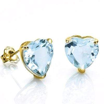 MAGNIFICENT 0.9 CARAT TW (2 PCS) BLUE TOPAZ 10K SOLID YELLOW GOLD EARRINGS - Wholesalekings.com