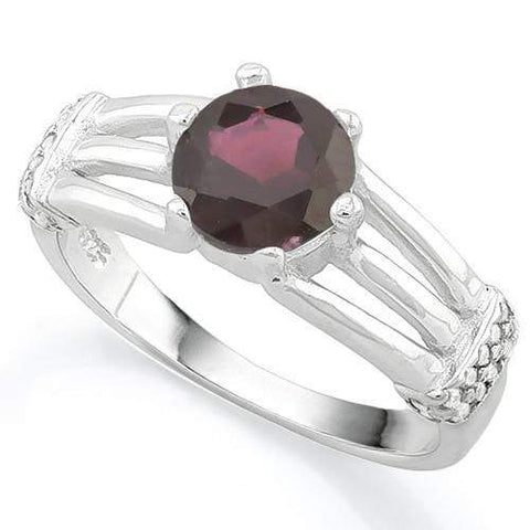MAGNIFICENT ! 1 3/4 CARAT GARNET & (20 PCS) FLAWLESS CREATED DIAMOND 925 STERLING SILVER RING - Wholesalekings.com