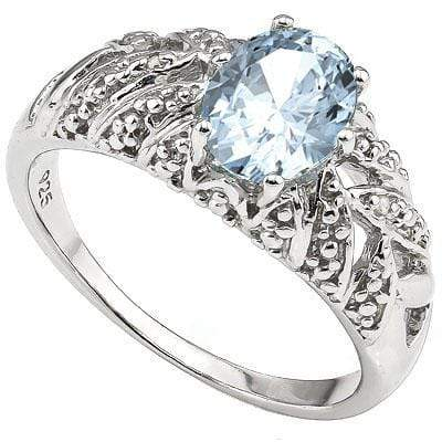 MAGNIFICENT 1.30 CT AQUAMARINE & 2 PCS WHITE DIAMOND PLATINUM OVER 0.925 STERLING SILVER RING - Wholesalekings.com