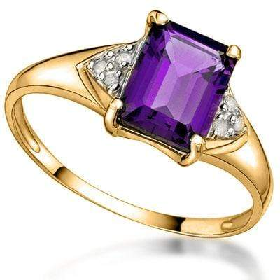 MAGNIFICENT 1.35 CT AMETHYST & 6 PCS WHITE DIAMOND 10K SOLID YELLOW GOLD RING - Wholesalekings.com
