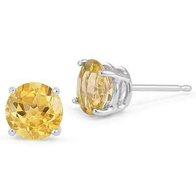 MAGNIFICENT 1.50 CT CITRINE 0.925 STERLING SILVER W/ PLATINUM EARRINGS - Wholesalekings.com
